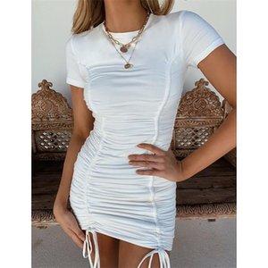 Два куска платья летнее женская одежда белый сплошной воротник футболка с футболкой с футболкой с короткими юбками