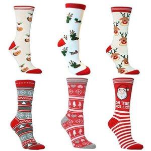 Unisex Christmas Xmas tree elk print cotton socks adult teenages mid-calf length crew sock Stockings santa clause snowflakes striped middle tube stocking H911FRGL