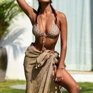 Womens Tassel Bikini Cover Up Swim Skirt Short Wrap Sarong Beach Dress 2021 Summer Women's Swimwear