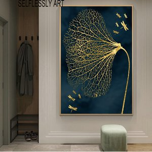 Abstract Poster Wall Painting Canvas Art Golden Leaf Picture HD Printing For Living Room Entrance Decoration Cuadros No Frame