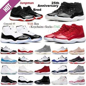 Jumpman Retro air jordan jordans aj11 11s jordon jordons 11 25th Anniversary Basketball shoes Top Quality Bred Concord Space Jam Men University Blue Red 72-10 Barons Sneakers 36-46