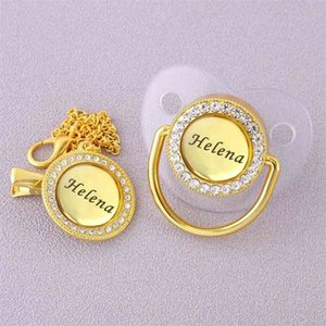 Personalized Any Name BlingBling Transparent Pacifier And Clip Chupete de bebe Newborn Kid Feeding BPA Free For Baby Shower Gift 210407