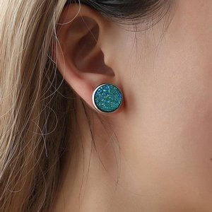 Simple Round Frosted Starry Stainless Steel Earrings Dreamy Fashion Personality Ladies Jewelry Gift Stud