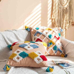 National Moroccan Style Cotton Canvas Tufted Pillow with Geometric Tassel Cushion Cover
