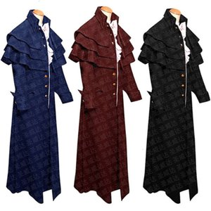 2021 Medieval Clergyman Stand Collar Button Coat New Stage Uniform Cosplay Costumes