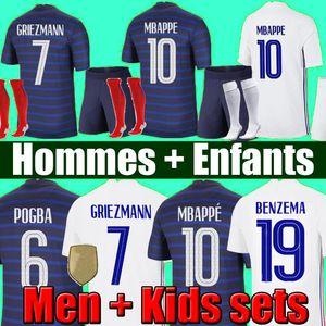 THAILAND 2021 MBAPPE Maillots de football 21 22 soccer jersey GRIEZMANN POGBA maillot DE foot KANTE BENZEMA PAVARD kit top shirt hommes enfants MEN + kids