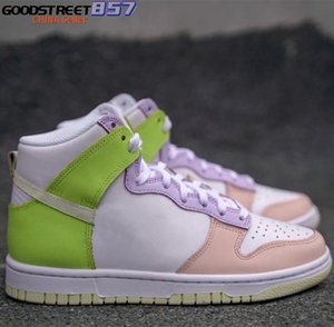 2021 Dunks High Cashmere Running Shoes Women White Pink Yellow Multi Sport Sneakers Ladies Fashion Shoe DD1869-108