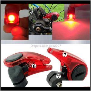 Bicycle Brake Lights Safety Riding Led Warning Light Folding Bike V Word Brakes Matic Control Tail Rear Lamp Accessories 6Dhjj 9Bkrj