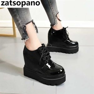 High Platform Patent Leather Casual Shoes Women Autumn Winter Wedge Ankle Boots For Women 12 CM Height Increasing Sneakers 201217
