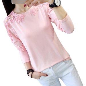 Women Autumn Eleglant Lace Hollow Out Blouse Shirt Long Sleeve Pink Tops Female Outfit Women's Blouses & Shirts