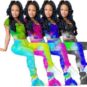 Tie Dye Print Tripsuits Mujeres de 2 piezas Set Casual Cult Top + Leggings de cintura altos Pantalones apilados Conjuntos a juego Trajes de fondo de campana