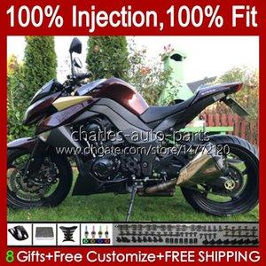 Injection Mold Body For KAWASAKI NINJA Z 1000 R Z-1000 10 11 12 13 Years Bodywork 15No.38 Z-1000R Z1000 2010 2011 2012 2013 Z1000R 2010-2013 OEM Fairing Kit wine red stock