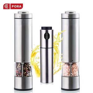 2PCS-Stainless Steel Electric Pepper Mill,Salt Shaker and Spice Grinder Set with Spray bottle for oil Dispenser Kithcn Tools 210713