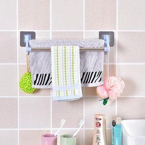 Towel Racks Punch-free Rack Toilet Bar Hook Bathroom Hanger Wall-mounted Shelf Double Rod Stainless Steel & PP