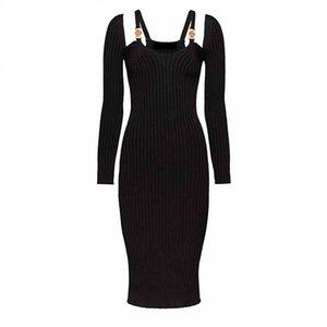 New Sexy Women Runway Dresses V Neck Long Sleeve Knit Slim Dress High Quality Female Gold Button Long Milan Runway Party Dresses E18