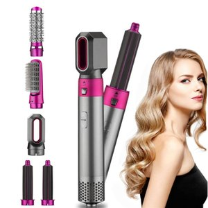 Escovas de cabelo elétrico secador multifuncional 5 em 1 escova de ar de giro escova soprador de pente de soprador de encrespador de cerâmica