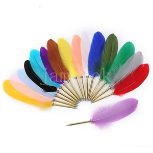 Party Favor Retro Feather Ball Pen Student Prize Gift Feathers Pens Novel Ballpoint quill Back to School Stationery DB646