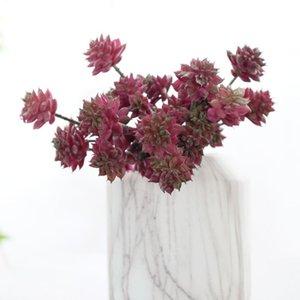 Heads Artificial Lotus Succulent Plants Home El Christmas Decorative Flowers Potted Green Floral Arrangement & Wreaths