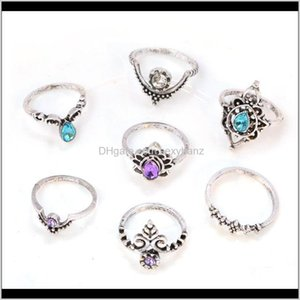 Band Rings Drop Delivery 2021 Fashion Jewelry Punk European And American-Style Exaggerated Personality Carving Statues Stone Gem Lotus 7Pcs R