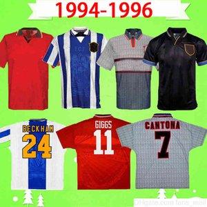 مانشستر 1994 1994 1995 لكرة القدم جيرسي الرجعية البيت بعيدا 94 95 96 رجل بعقب Giggs Utd Ronaldo # 24 Beckham Kanchelskis Cantona كرة القدم قميص موحدة