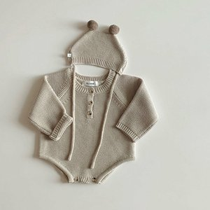 2020 Autumn New Toddler Baby Boys Girls Knitted Bodysuit Infant Jumpsuit Knitwear Outfits Newborn Baby Sweater And Baby Knit Hat 953 Y2