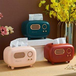 Tissue Boxes & Napkins Retro Radio Model Box Desktop Paper Holder Dispenser Storage Napkin Case Organizer Ornament Wet Wipes