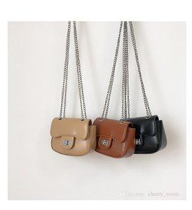 Children casual handbags 2021 autumn winter kids solid colors chain crossbody bag mini girl zero wallet baby accessories bags F734