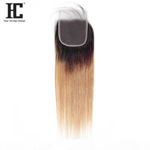 HC Straight Hair Free Part Lace Closure 4*4 Inch With Baby Hair 1B 27 Ombre Brazilian Straight Human Hair 10-20 Inch