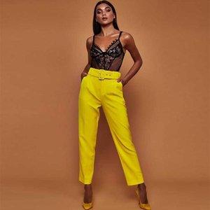 Pantalones casuales de cintura alta de otoño cinturón cinturón de piernas rectas Oficina, señora, señora, pantalones, pantalones, capris de mujer