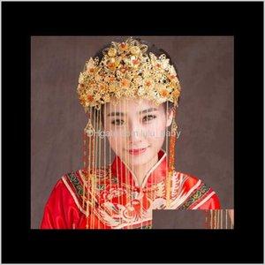 Tiaras Schmuck Drop Lieferung 2021 Antike Kostüm Kopfschmuck Chinesische Stil Braut Hochzeit Krone Haar Zubehör Ilkus
