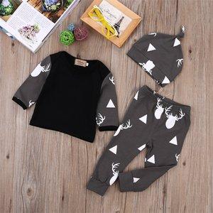 Carino neonato neonato ragazzo vestiti cervi cervi top t-shirt manica lunga + pantaloni Cappello Cappello Cappello Cappello 3pcs Autunno 453 Y2