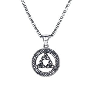 pendant necklaces mens necklace creative personality round triangle hollow hip-punk titanium steel for gift