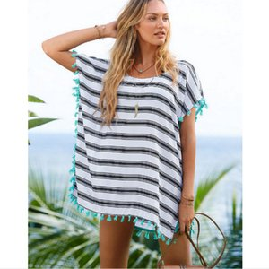 Sundress Cover-Ups Striped Bikini Sunscreen Loose Blouse Beach Wear Dress Bikini Cover Clothing Mini Ladies Chiffon Tassel