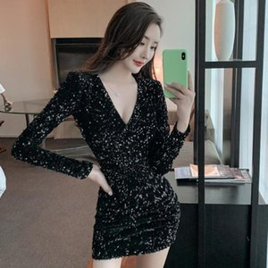 Party Dresses spring annual meeting evening dress Harajuku sexy dress show thin casual V-Neck long sleeve hip skirt