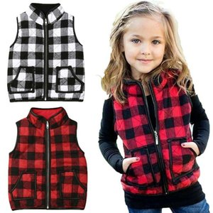 Vest Toddler Kid Girls Warm Comfortable Coats Red Black Plaid Waistcoats Outwear Clothes Jacket