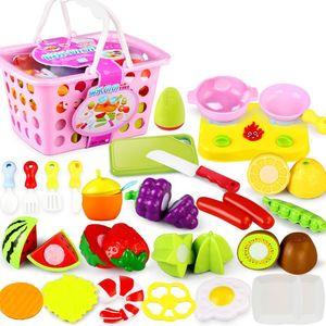 Hot Plastic Kitchen Food Fruit Vegetable Cutting Kids Pretend Play Educational Toy Safety Children Kitchen Toys Sets 889 V2