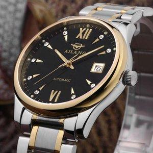 Moda Vintage Ailang Estilo de Negócios Homens Full Steel Vestido Relógios Roman Scale Calendário Relógio Automático Analógico Relosjes NW3315 relógios de pulso