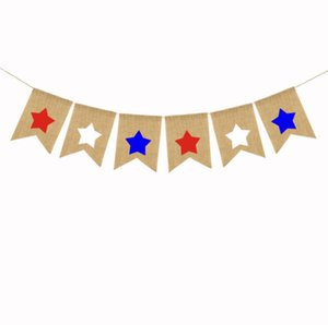 burgee flags Independence Days five-pointed star Swallowtail Banners American National Day String Flag Bunting Banner Party Decoration SN2328