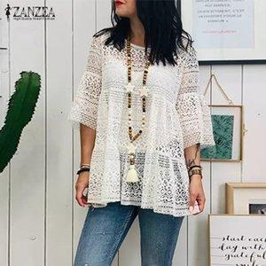 Zanzea Bohemian Encaje Patchwork Tops Femenino Blusa de verano 2020 Moda 3/4 Flare Sleeve Shirts Femenino Hollow Blusas Woman Tunic T200429