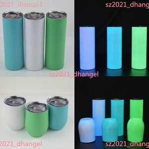 Sublimation Straight 20oz Glow in the dark Blank Skinny Tumbler with Luminous paint Vacuum Insulated Heat Transfer Car Mug