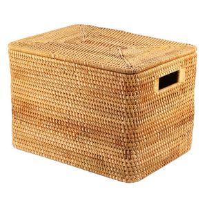 Storage Baskets Laundry Basket Rattan Woven Handmade Large Capacity Portable Clothing Box Household,36X26X24cm