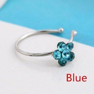 Pequeños 5 cristales claros delgados de la flor del encanto de la flor del encanto de la nariz de la joyería del anillo del aro de plata de la nariz CNE rápido envío 533 T2