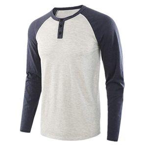 T Shirt Men Casual Vintage Long Baseball Jersey Raglan Sleeve Tee Contrast Color Wholesale Bulk