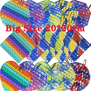 DHL 20CM Big Size Push Bubble Fidget Toys Color changing in Sun UV Autism Needs Squishy Stress Reliever Decompression Toy Party Favor Adult Kid Tie Dye Rainbow