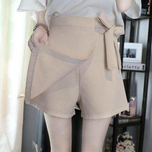 Women's Shorts Women 2021 Summer Fashion Wrap Sash Skirt Female Skort High Waist Solid Ladies Tide Asymmetrical Y78