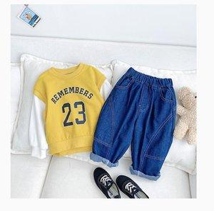 Jeans Koodykids Autumn Kids Boys Unisex Denim Pants For Girls Loose Classic Sweatshirts Baby Boy Clothes Spring