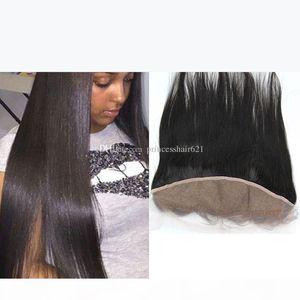 Glamorous Human Hair Lace Frontals Natural Black Straight Hair Lace Frontal Closures Brazilian Peruvian Indian Malaysian Virgin Hair Frontal