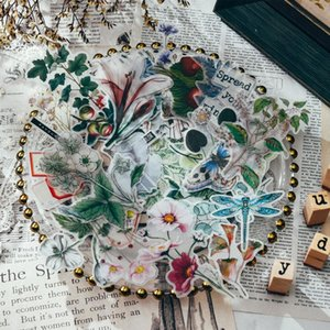 50pcs Vintage Plants Flowers Butterfly Vellum Paper Stickers For Scrapbooking Happy Planner Card Making Journaling Project Craft Tools