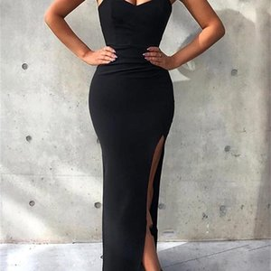 Sexy Cheap Strapless Simple Black Mermaid Prom Dresses Abendkleider Evening Dresses Robe De Soiree Long Bridesmaid Dress Vestido de fiesta