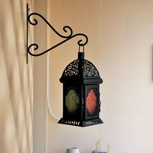 1pc European Style Creative Wrought Iron Flower Candlestick Wind Lamp Wall Hook Rack For Indoor Balcony Outdoor Home Hooks & Rails